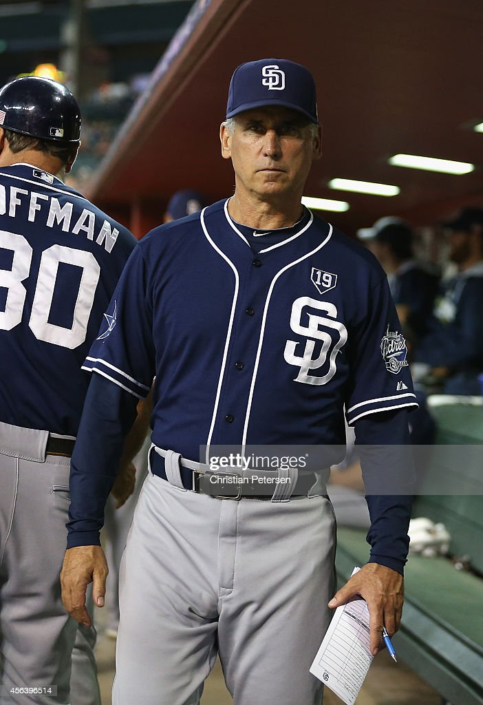 Manager Bud Black of the San Diego Padres in the dugout during the MLB game against the Arizona Diamondbacks at Chase Field on September 12 2014 in...