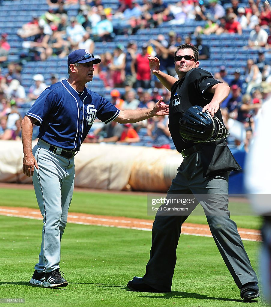 Manager Bud Black of the San Diego Padres is thrown out of the game by Home Plate Umpire Jordan Baker during the seventh inning of the game against...