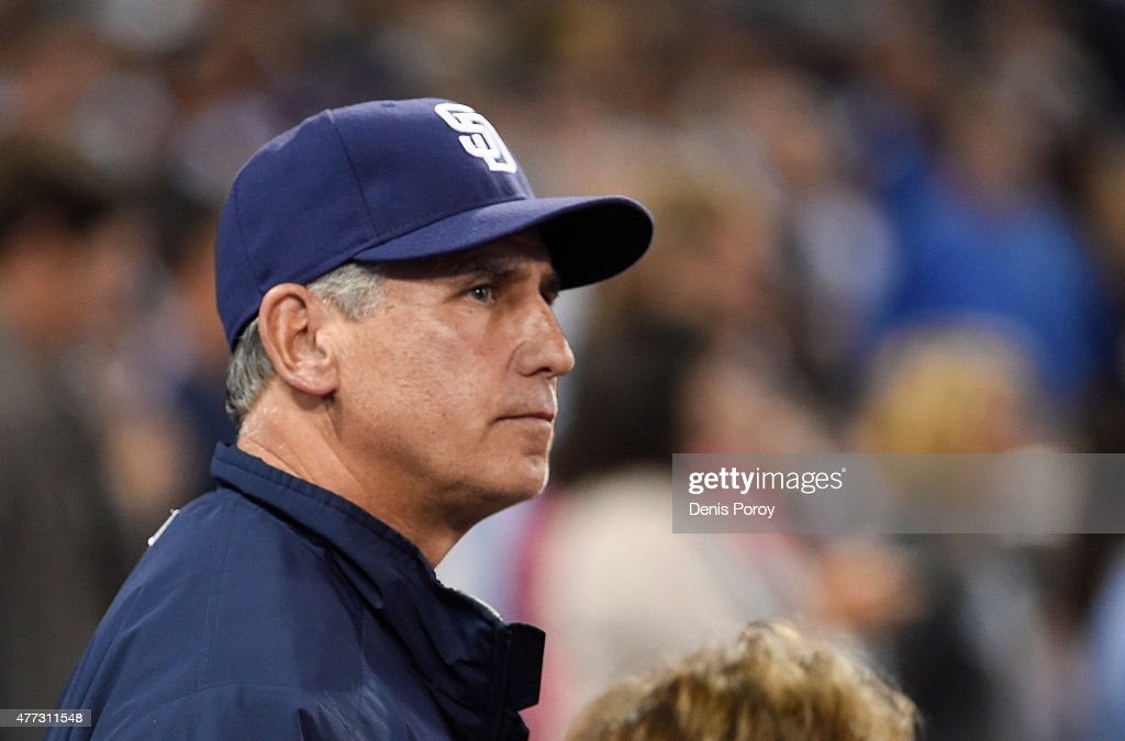 Manager Bud Black of the San Diego Padres looks on during a baseball game against the Los Angeles Dodgers at Petco Park on June 13 2015 in San Diego...