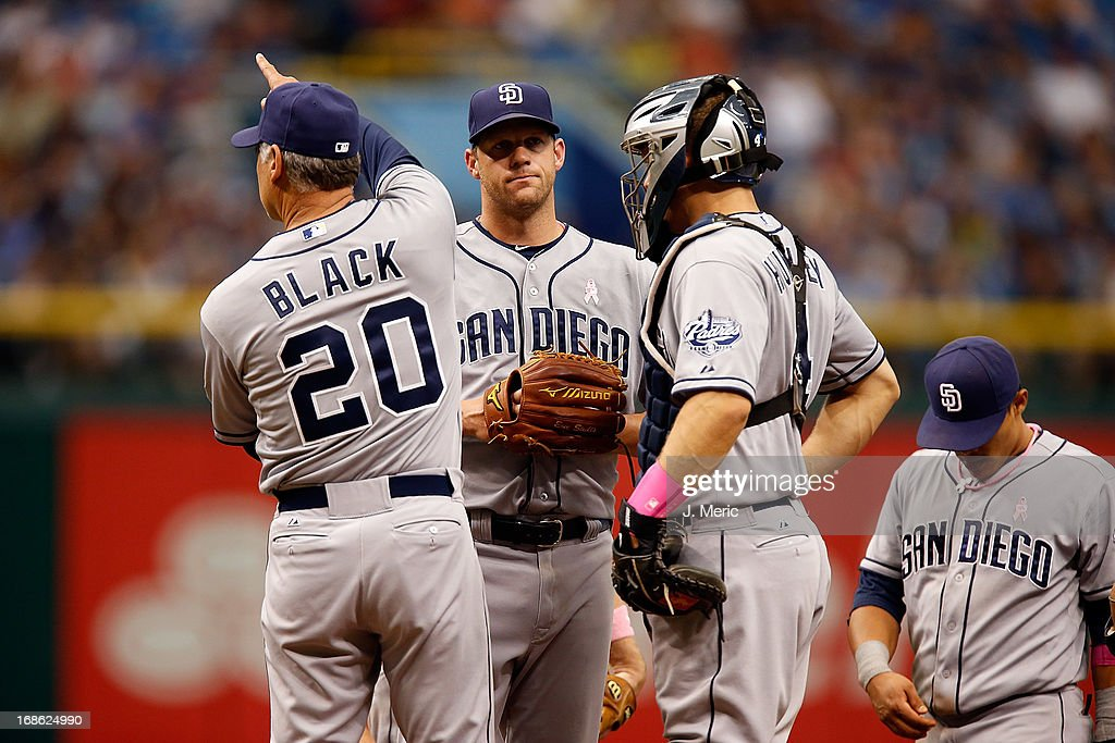 Manager <a gi-track='captionPersonalityLinkClicked' href=/galleries/search?phrase=Bud+Black&family=editorial&specificpeople=167104 ng-click='$event.stopPropagation()'>Bud Black</a> #20 of the San Diego Padres makes a pitching changes during the game against the Tampa Bay Rays at Tropicana Field on May 12, 2013 in St. Petersburg, Florida.