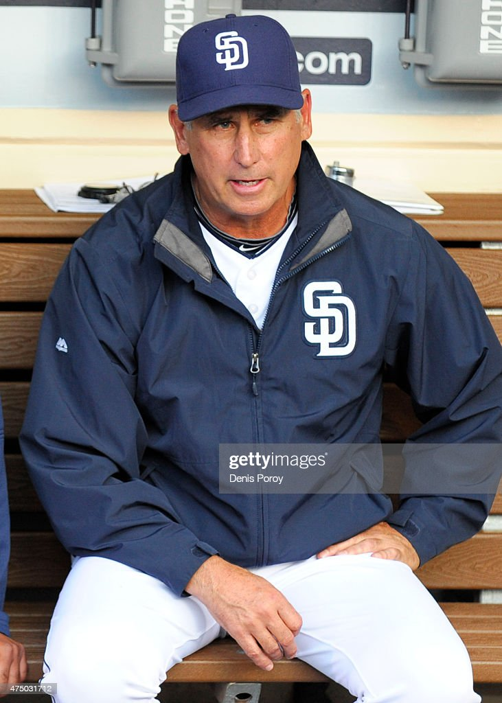 Manager Bud Black of the San Diego Padres sits in the dugout before a baseball game against the Pittsburgh Pirates at Petco Park May 28 2015 in San...