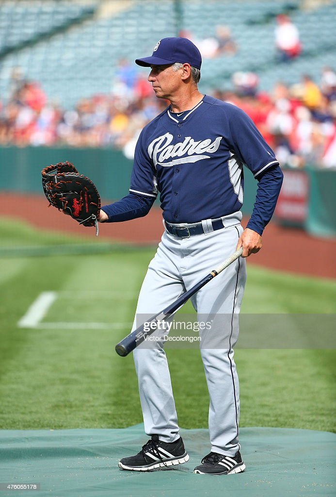 Manager Bud Black of the San Diego Padres takes the field for batting practice prior to the MLB game at Angel Stadium of Anaheim on May 25 2015 in...