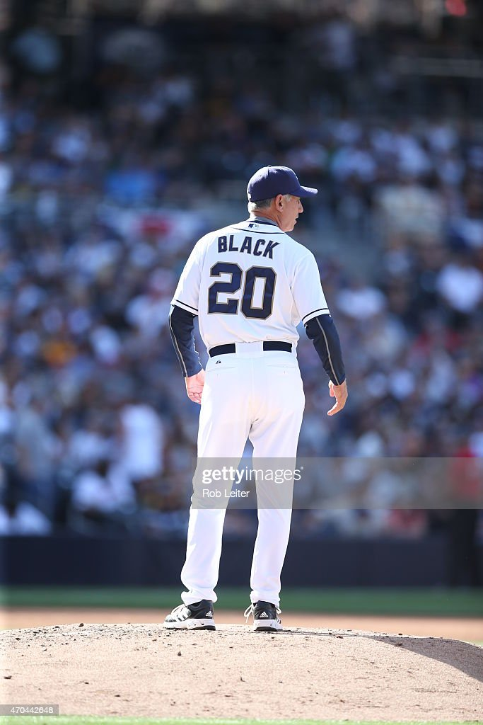 Manager Bud Black of the San Diego Padres visits the mound during the game against the San Francisco Giants at Petco Park on Thursday April 9 in San...