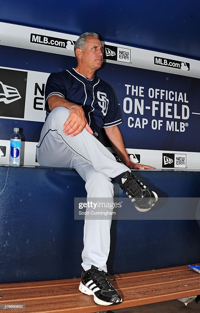 Manager Bud Black of the San Diego Padres waits out a rain delay before the game against the Atlanta Braves at Turner Field on June 11 2015 in...