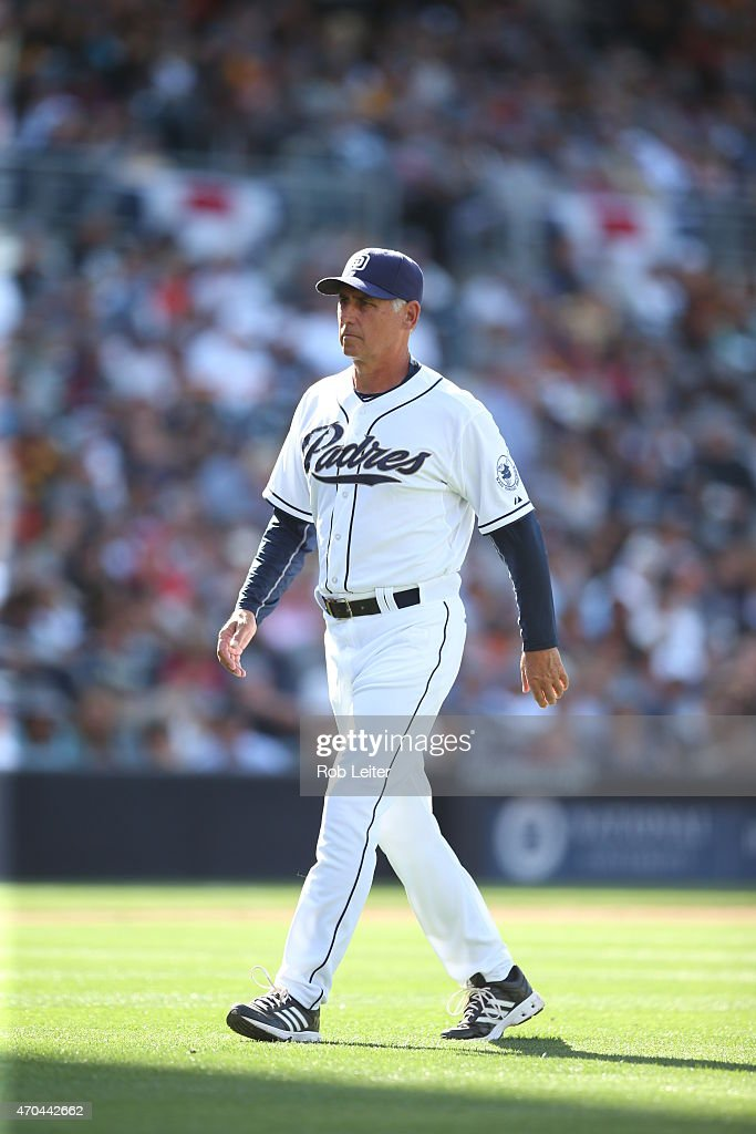 Manager Bud Black of the San Diego Padres walks off the field during the game against the San Francisco Giants at Petco Park on Thursday April 9 in...