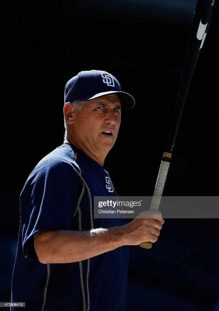 Manager Bud Black of the San Diego Padres warms up his team before the MLB game against the Arizona Diamondbacks at Chase Field on May 9 2015 in...