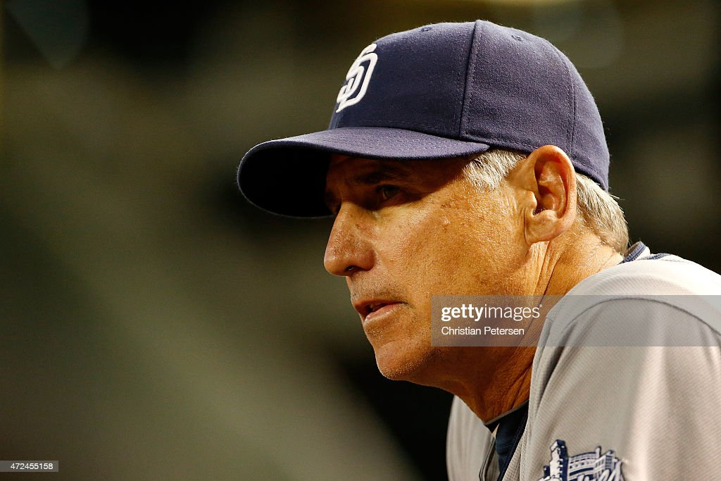 Manager Bud Black of the San Diego Padres watches from the dugout during the MLB game against the Arizona Diamondbacks at Chase Field on May 7 2015...