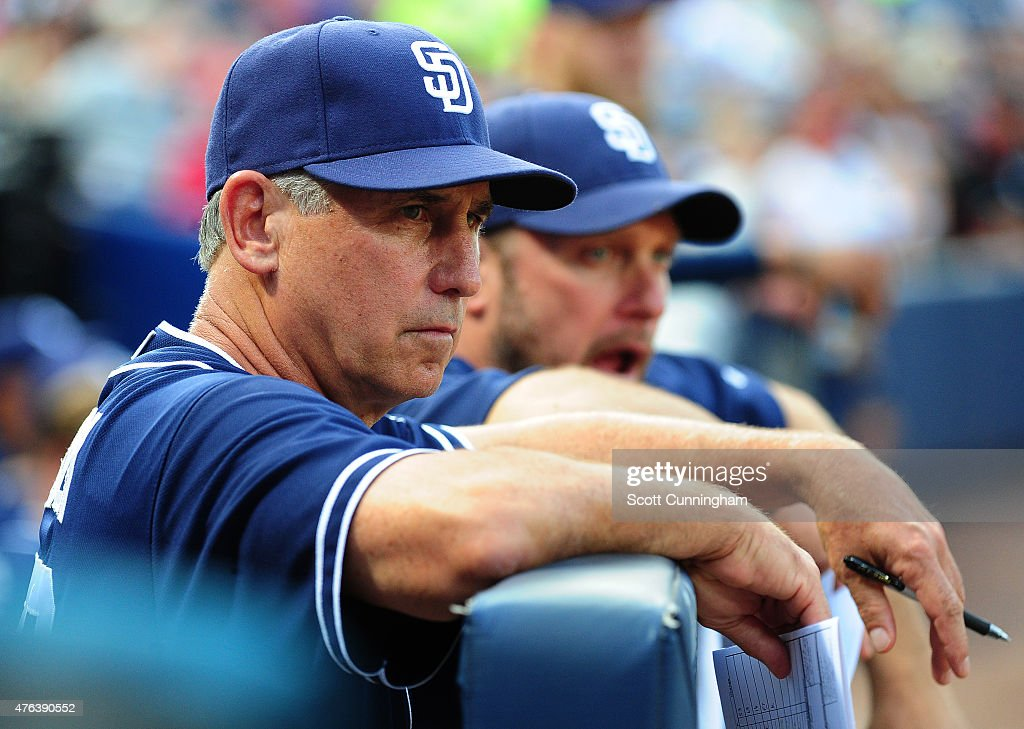 Manager Bud Black of the San Diego Padres watches the action during the second inning against the Atlanta Braves at Turner Field on June 8 2015 in...