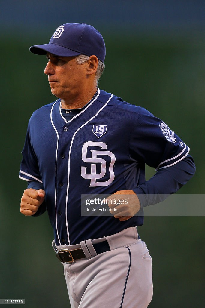 Manager Bud Black runs off the field after challenging a call at first base that was overturned using video replay during the first inning against...