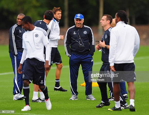 Manager Carlo Ancelotti in relaxed mood during a Chelsea training session at the Chelsea training ground on September 14 2009 in Cobham Surrey