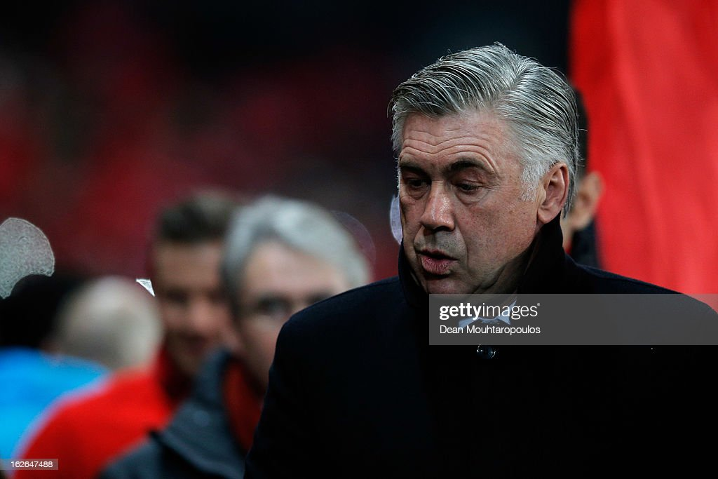 Manager, <a gi-track='captionPersonalityLinkClicked' href=/galleries/search?phrase=Carlo+Ancelotti&family=editorial&specificpeople=226747 ng-click='$event.stopPropagation()'>Carlo Ancelotti</a> looks on prior to the Ligue 1 match between Paris Saint-Germain FC and Olympique de Marseille at Parc des Princes on February 24, 2013 in Paris, France.