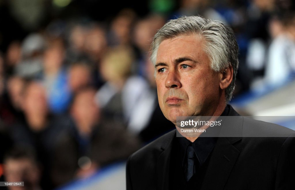 Manager Carlo Ancelotti looks on prior to the UEFA Champions League Group F match between Chelsea FC and Marseille at Stamford Bridge on September 28, 2010 in London, England.