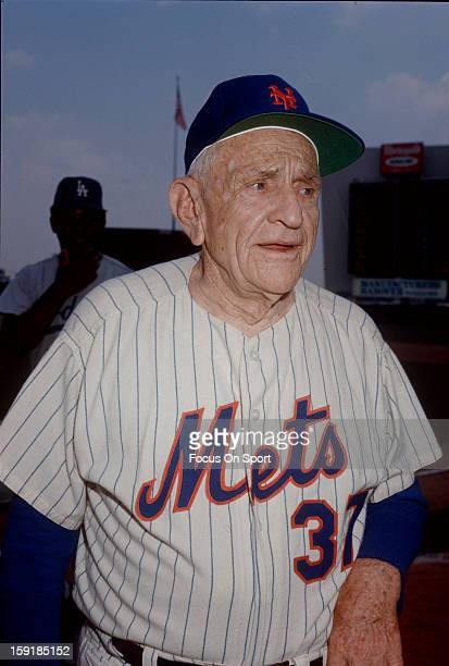 Manager Casey Stengel of the New York Mets in this photo walking into the dugout before a Major League Baseball game circa 1965 at Shea Stadium in...