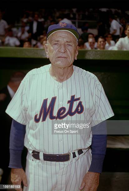Manager Casey Stengel of the New York Mets looks into the camera for this photo before a Major League Baseball game circa 1965 at Shea Stadium in the...