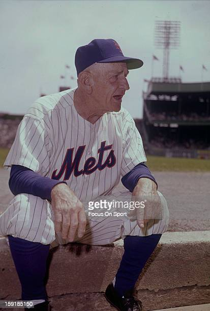 Manager Casey Stengel of the New York Mets looks sits on the top of the dugout steps before the start of a Major League Baseball game circa 1965 at...