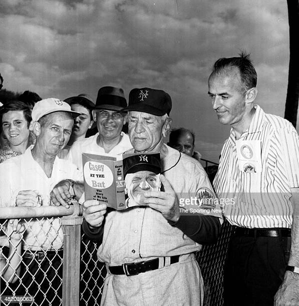 Manager Casey Stengel of the New York Mets reads a book circa 1960s