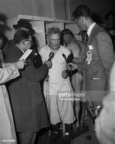 Manager Casey Stengel of the New York Yankees is interviewed by the press circa 1950s