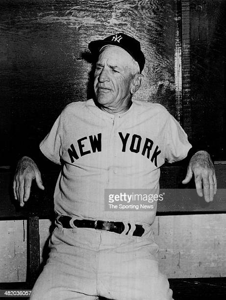 Manager Casey Stengel of the New York Yankees sits in the dugout circa 1950s