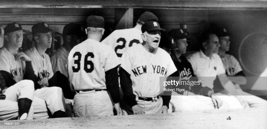 Manager <a gi-track='captionPersonalityLinkClicked' href=/galleries/search?phrase=Casey+Stengel&family=editorial&specificpeople=93209 ng-click='$event.stopPropagation()'>Casey Stengel</a> #37 of the New York Yankees yells from the dugout during an MLB game circa 1950's.