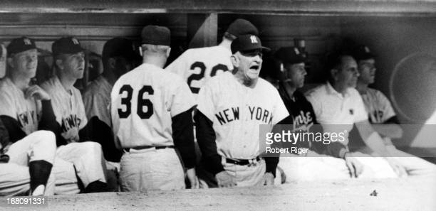 Manager Casey Stengel of the New York Yankees yells from the dugout during an MLB game circa 1950's