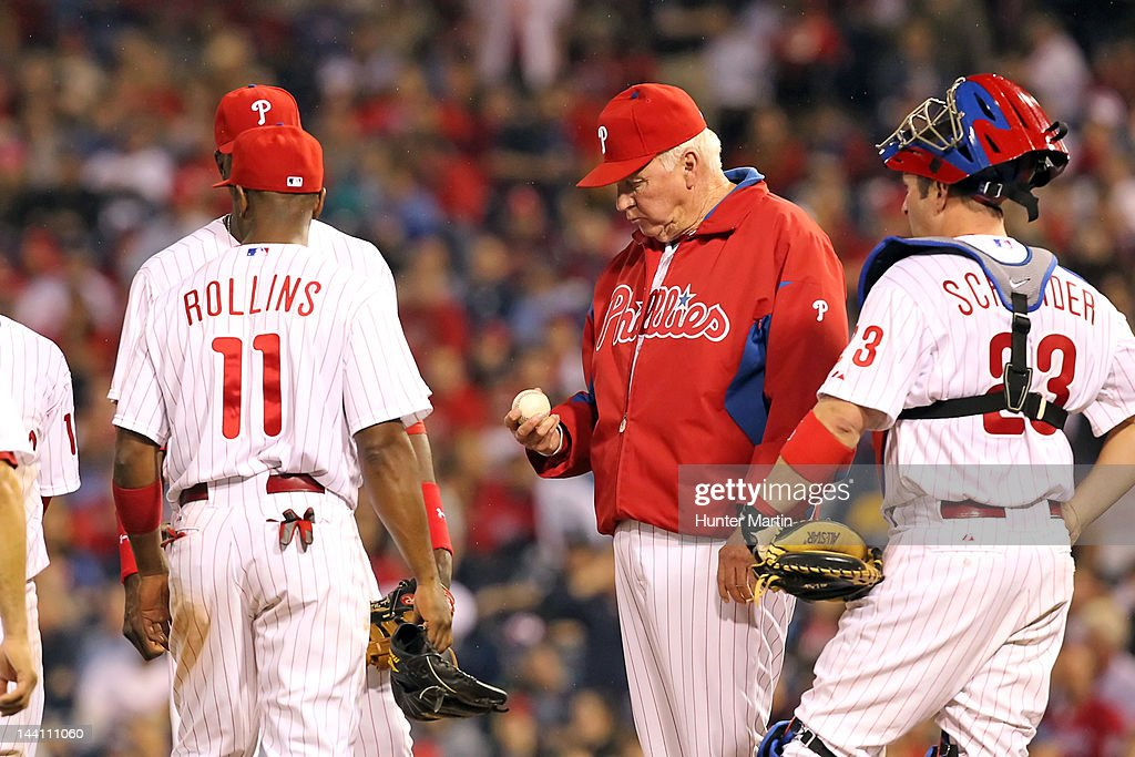Manager <a gi-track='captionPersonalityLinkClicked' href=/galleries/search?phrase=Charlie+Manuel&family=editorial&specificpeople=217967 ng-click='$event.stopPropagation()'>Charlie Manuel</a> #41 of the Philadelphia Phillies makes a pitching change during a game against the New York Mets at Citizens Bank Park on May 9, 2012 in Philadelphia, Pennsylvania. The Mets won 10-6.