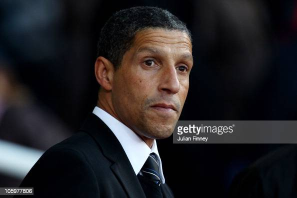 Manager Chris Hughton of Newcastle United looks on during the Barclays Premier League match between West Ham United and Newcastle United at The...
