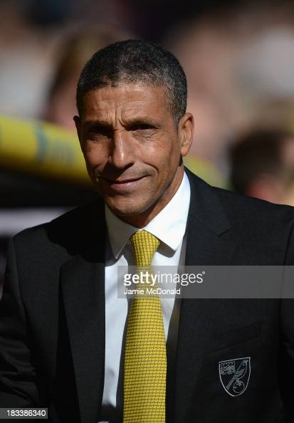 Manager Chris Hughton of Norwich City looks on during the Barclays Premier League match between Norwich City and Chelsea at Carrow Road on October 6...