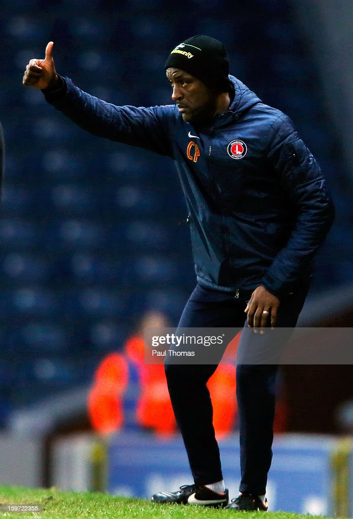 Manager Chris Powell of Charlton gestures during the npower Championship match between Blackburn Rovers and Charlton Athletic at Ewood Park on January 19, 2013 in Blackburn, England.