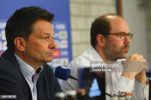 Manager Christian Heidel and member of the board Axel Schuster are seen during the presentation of new head coach Domenico Tedesco at VeltinsArena on...