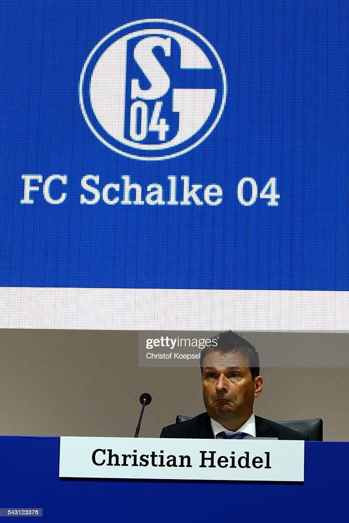Manager Christian Heidel attends the FC Schalke 04 general assembly at Veltins Arena on June 26, 2016 in Gelsenkirchen, Germany.
