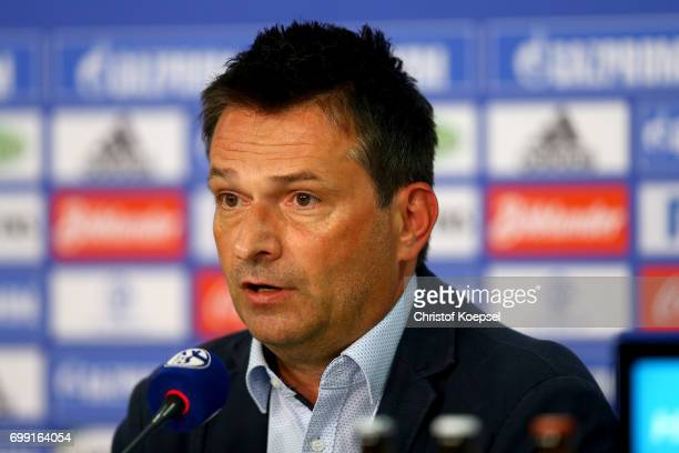Manager Christian Heidel is seen during the presentation of new head coach Domenico Tedesco at VeltinsArena on June 21 2017 in Gelsenkirchen Germany
