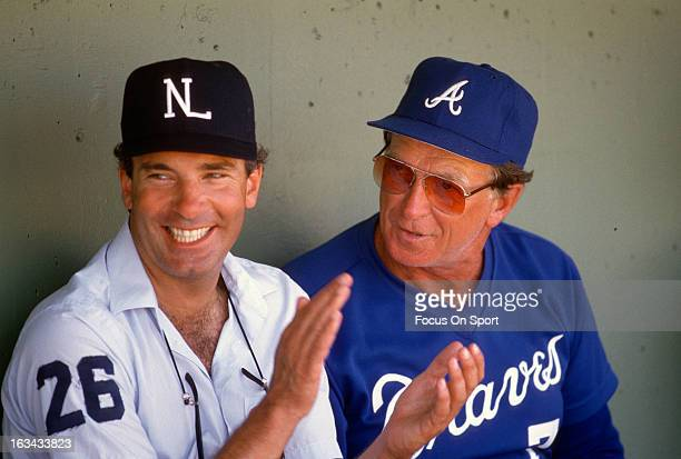 Manager Chuck Tanner of the Atlanta Braves talks with an umpire before an Major League Baseball game circa 1987 Tanner managed for the Braves from...