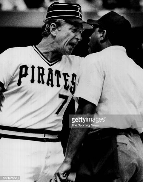 Manager Chuck Tanner of the Pittsburgh Pirates argues with an umpire circa 1970s