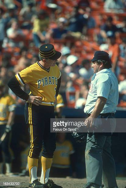 Manager Chuck Tanner of the Pittsburgh Pirates argues with the homeplate umpire during an Major League Baseball game against the New York Mets circa...