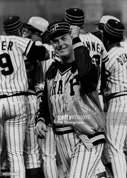 Manager Chuck Tanner of the Pittsburgh Pirates celebrates circa 1970s