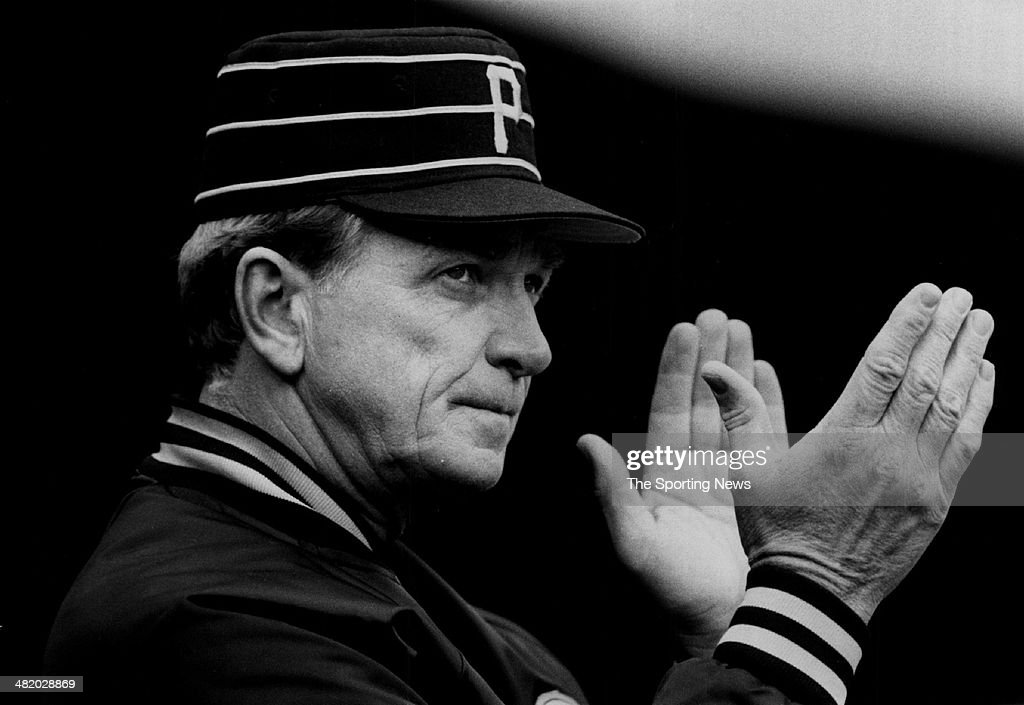 Manager Chuck Tanner of the Pittsburgh Pirates claps circa 1970s.