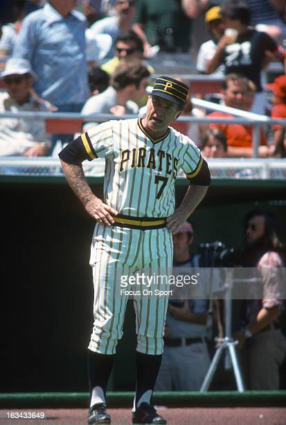 Manager Chuck Tanner of the Pittsburgh Pirates looks on from in front of the dugout during an Major League Baseball game circa 1977 at Three Rivers...