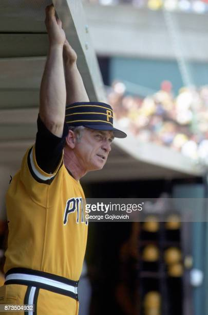 Manager Chuck Tanner of the Pittsburgh Pirates looks on from the dugout during a Major League Baseball game at Three Rivers Stadium circa 1979 in...