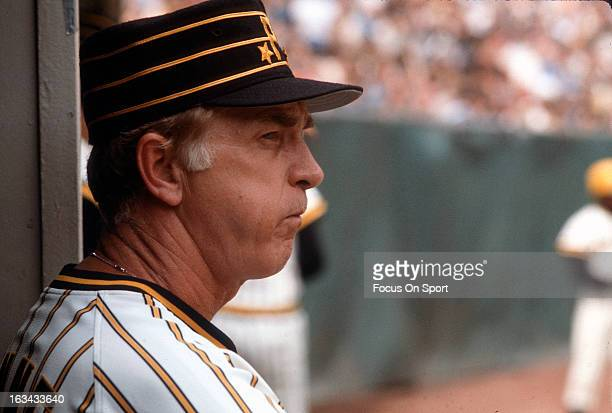 Manager Chuck Tanner of the Pittsburgh Pirates looks on from the dugout during an Major League Baseball game circa 1977 Tanner managed for the...