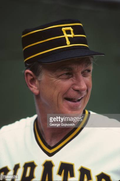 Manager Chuck Tanner of the Pittsburgh Pirates smiles during a game at Three Rivers Stadium in July 1983 in Pittsburgh Pennsylvania