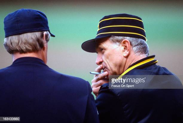 Manager Chuck Tanner of the Pittsburgh Pirates talks with the homeplate umpire during an Major League Baseball game circa 1981 Tanner managed for the...
