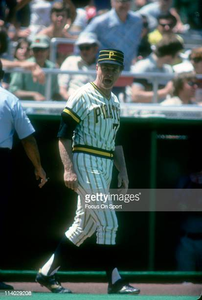 Manager Chuck Tanner of the Pittsburgh Pirates walks out of the dugout arguing with an umpire during a Major League Baseball game circa 1983 at Three...