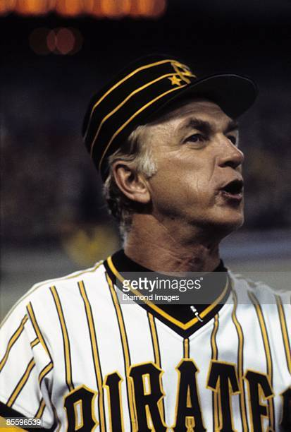 Manager Chuck Tanner of the Pittsburgh Pirates yells instructions during a World Series game in October 1979 against the Baltimore Orioles at Three...