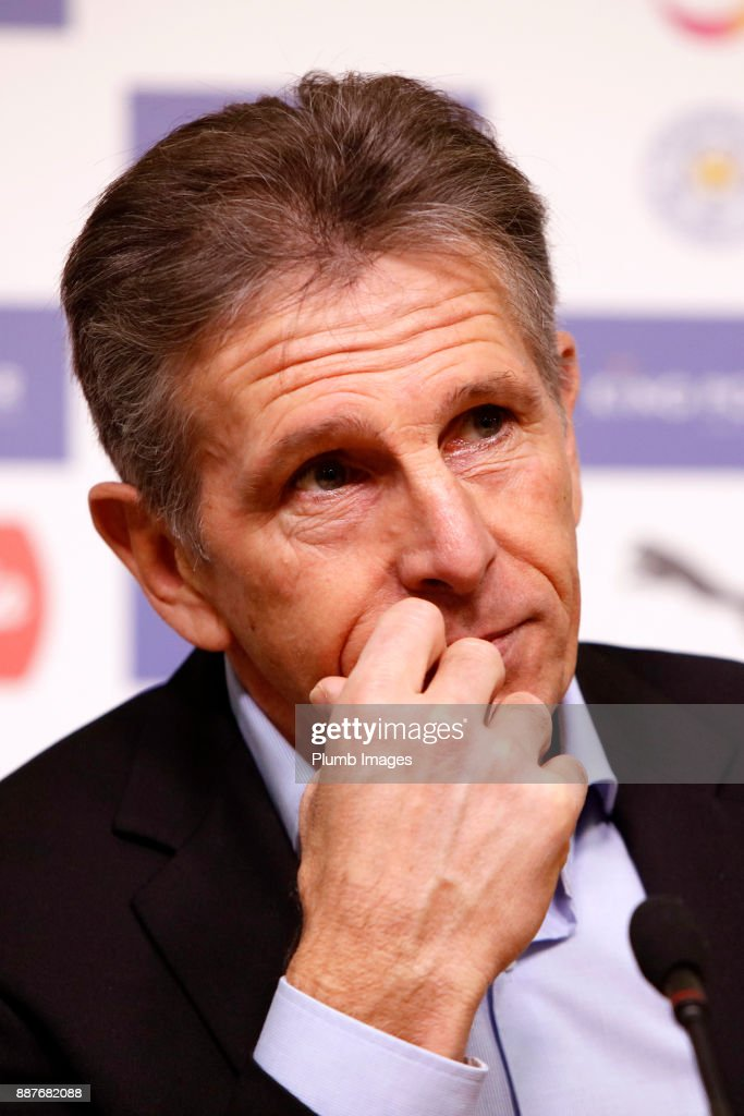 Manager Claude Puel during the Leicester City press conference at Belvoir Drive Training Complex on December 07th , 2017 in Leicester, United Kingdom.