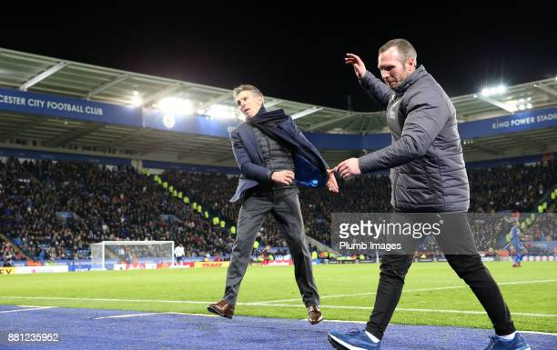 Manager Claude Puel of Leicester City and Assistant Manager Michael Appleton react after seeing a missed chance during the Premier League match...