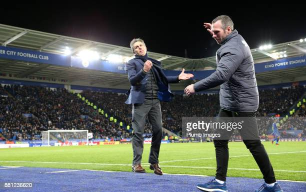 Manager Claude Puel of Leicester City and Assistant Manager Michael Appleton reacts after seeing a missed chance during the Premier League match...