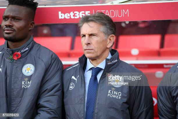 Manager Claude Puel of Leicester City and Daniel Amartey of Leicester City observe the minute silence at Bet365 Stadium ahead of the Premier League...