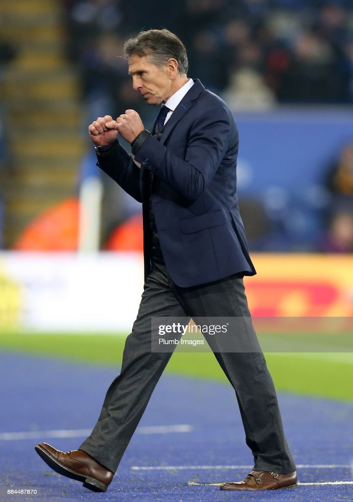Manager Claude Puel of Leicester City celebrates another win after the Premier League match between Leicester City and Burnley at King Power Stadium on December 2nd, 2017 in Leicester, United Kingdom.