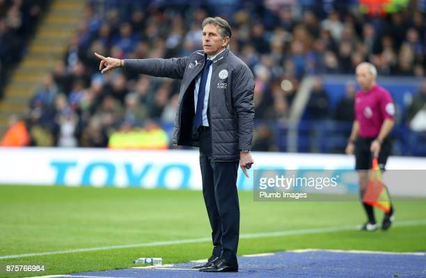 Manager Claude Puel of Leicester City during the Premier League match between Leicester City and Manchester City at The King Power Stadium on...