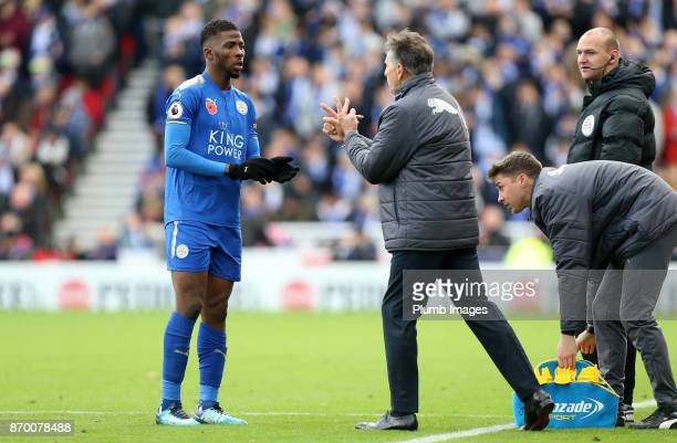 Manager Claude Puel of Leicester City gives instructions to substitute Kelechi Iheanacho of Leicester City during the Premier League match between...